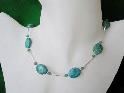 Faceted Flat Oval Green Chrysocolla Jasper, Swarovski Crystals & Sterling Silver Necklace